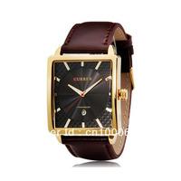 CURREN Calendar Gold Case Quartz Wrist-watch Business Mens Man Women Watches with Soft Leather Band , Dropship