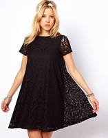 2014 NEW WOMEN SUMMER FASHION DRESS PARTY LACE SOLID SHORT SLEEVE CASUAL DRESS 4 COLRO HOT SELLING FREE SHIPPING