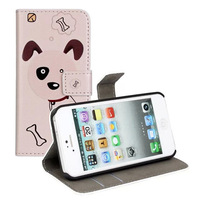 For iPhone 5S Case Lovely Dog Cover Flip Leather stand Case For iPhone 5 5S Free shipping 300pcs/lot