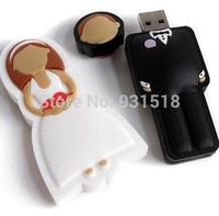 wedding usb Flash Drive  8GB 16GB full capacity bride & groom usb drives wedding gift USB disk   100pcs/lot