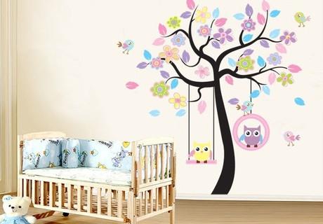 gewonde uil boom kinderkamer babykamer achtergrond behang stickers