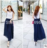 2014new fashion sweet  bohemia maxi sleeveless lace chiffon patchwork vest long dresses free shipping best selling