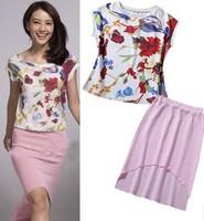 Women's O Neck Printed Flowers Short Sleeves Street Style Blouse + Asymmetric Skirts Twinset Dresses