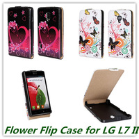 Vertical Flip Cover Case for LG Optimus L7 II Fashion Butterfly Love FLower Pattern Printed Magnetic Snap Closure Free