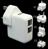 tablet 4 USB Ports EU/US/UK/AU Plug Home Travel Wall AC Power Charger Adapter For iPhone5S iPad 2/3 Mini Samsung Galaxy S5 S4