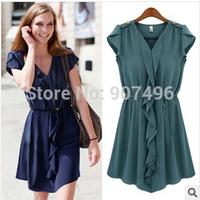 2014new fashion vintage high quality  ruffles short sleeve solid chiffon dresses free shipping best selling