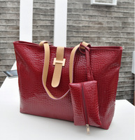 2014 New women handbag fashion crocodile shoulder bag casual women red leather handbags free shipping  SD50-377