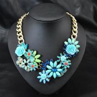 Wholesale European Brand Fashion Women Vintage Jewelry Collar Luxury Bijoux Flower pendants Statement Collar Necklace