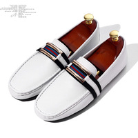 2014 Men's Fashion Leisurely Style Genuine Leather SUrface Buckle Strap Attached Flat Heel Slip On Loafers US Size 7-9 D317