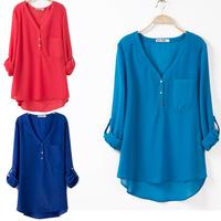 Plus size summer shirt chiffon shirt chiffon top