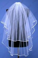 Hot Sale Ribbon Edge White Ivory Long Tulle Bridal Wedding Veils