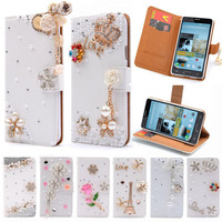 Note2 Luxury Wallet Stand Flip PU Leather Diamond Bowknot Cosmetic Mirror Case For Samsung Galaxy Note 2 II N7100 Handmade Cover