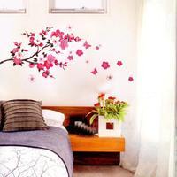 Pink Cherry Peach Blossom Plum Flowers Butterfly Wall Stickers Mural Decal Art adesivo de paredes