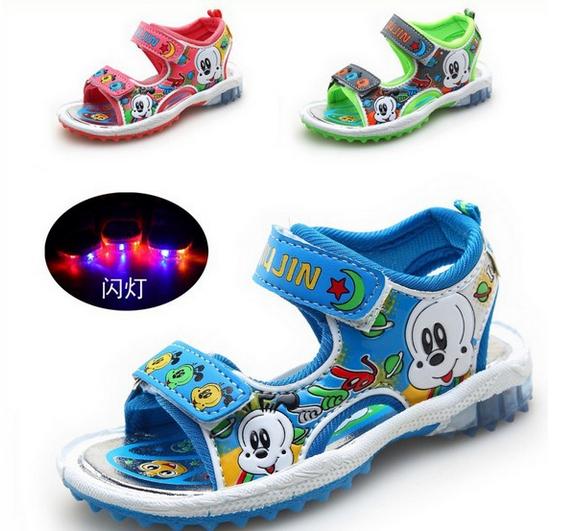 AliExpress.com Product - top quality 2014 New Cartoon Children Girls Casual Sandals Boys Kids Flashing Lights Summer Beach Shoes