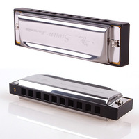Brand New Silver Swan Metal 10 Holes Key Of G Harmonica with Case