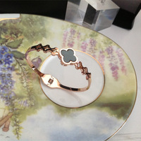 free shipping wholesale rose gold plated snap hook stainless steel Four Leaf Clover bangles BB003