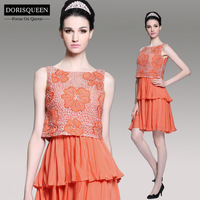 Dorisqueen 2014 new arrival ready to wear fast ship in stock above knee crystal lace orange short cocktail dress