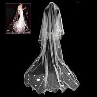 New Arrival Elegant Flower Beads Lace Applique Tulle Bridal Veil