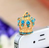 20pcs/lot, Imperial crown Phone Accessories Small Diamond Rhinestone 3.5mm Dust Plug Earphone Plug For Iphone&Ipad & Samsung