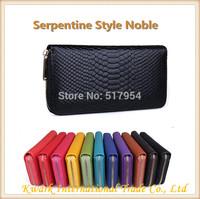 2014 European Design Serpentine Style Women Clutch Genuine Leather Wallet Luxury Money Clip Female Cowhide Long Holder Bag