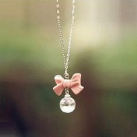 X028 free shipping New Arrival Hot Selling Crystal Pink Bow Crystal Necklace,Sweater Chain wholesale for women gift