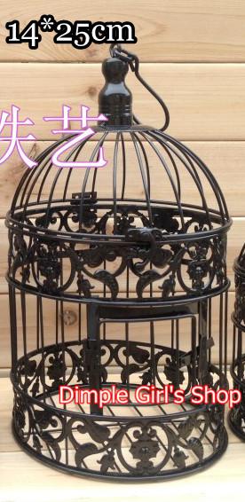 1 pcs 14 * 14 * 25 cm novidade itens de Metal Black Bird Cage decorativa decoração de casamento gaiola(China (Mainland))