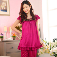 Free shipping 2014 new spring and summer ice silk two-piece pajama suit tracksuit lace sleeves XL
