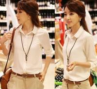 2014 New Office OL Bowtie Lady Chiffon Shirt Size S-XXL Chiffon Blouses Jeans/shorts Women Fashion White Blouses Free Shipping