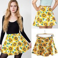 Summer 2014 fashion American Apparel High Waist Sunflower Print Stretch Bull Denim Circle Skirt for Women