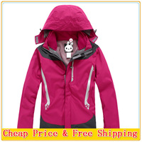Free Shipping 2014 Women Winter Outdoor Snow Sport Skiing Suit Jacket Waterproof Windproof Breathable Thermal Fleece 2in1 jacket