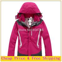 Free Shipping 2014 Women Winter Outdoor Snow Sport Skiing Suit Jacket Waterproof Windproof Breathable Thermal Fleece 2in1 jacket