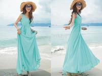 Hot Women's Chiffon Summer Beach Solid Sundress Sleeveless Maxi Long Swing Dress