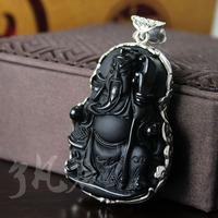 Free shipping ! Obsidian Guan Gong Pendant  men women Silver jewelry necklace pendant