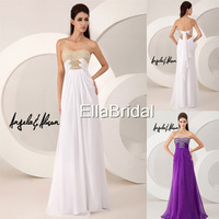 Latest A-Line Floor-Length Sweetheart Crystal Beaded White Chiffon 2014 New Arrival Prom Dresses Bridal Dress Gown 41026