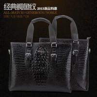 Free Shipping Howe kangaroo male fashion business casual classic crocodile pattern cowhide handbag messenger bag : 9905