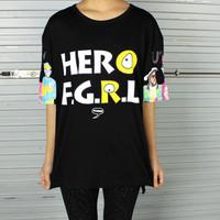 2014 Harajuku bf color block loose short-sleeve T-shirt free shipping