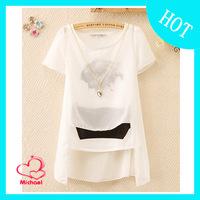 2014 spring women's slim all-match short-sleeve top selling chiffon shirt
