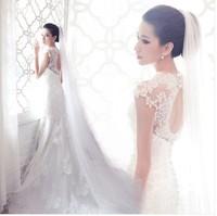 Free shipping !2014 fashion women dress Sweet lace Lovely High-quality Sexy princess dress rhinestone flower bride wedding dress