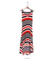 Han edition stripe Condole belt irregular Bohemian dress