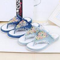 New 2014 Summer New Heavy-Bottomed Non-Slip Bottom Flat Sandals Flip-Flops Sandals Home Casual Denim Burr Size 35-39