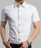 2014 men's clothing men's short  shirt   cotton Design: the pure color fashion casual shirt  M /L /XL/ XXL/XXXL (DC0050)
