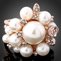 Wholesale 18k Gold Plated Austria Crystal Pearl Flower Ring Women Finger Ring Fashion Jewelry Accessories New 2014 Russia
