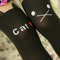 Cartoon Cat False High Splicing Silk Stockings SH22