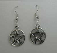 Fashion 20 Pair Vintage Silver Wicca Round Pentagram  Charms Drop Earrings For Women With Gift Box Jewelry Free Shipping  P2177