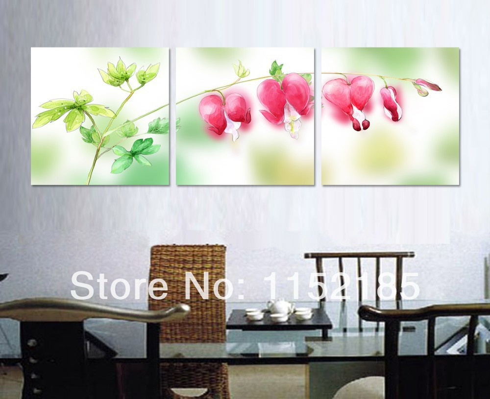 Free Shipping Green Red Flower Still Life Paintings 3 Piece Canvas Wall Art P