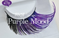 Free shipping! 1pair 6 style Colorful coattail winged synthetic hair hand made Thick Long False Eyelashes 478#, free glue
