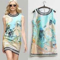 2014 New Brand Fashion Runway Dress Scoop Collar Sleeveless Undersea world Digital Printed Straight Dress for Women Tank Dress