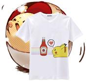 Cos Anime Cute Pokemon Cotton T-shirt Pikachu Cartoon Tops T Shirt For Men Women