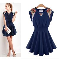 Euro Brand Top Quality 2014 New Fashion Women Summer Dress Sleeveless Lace Flora Casual Dress