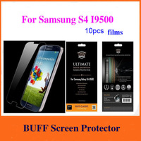 Big sales Good quality 10pcs Free Shipping Buff Shock Absorption Screen Protector film For Samsung S4 I9500 with retail package